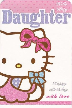 Hello Kitty Daughter Birthday Card Daughter Birthday Cards Hello Kitty Birthday Cards
