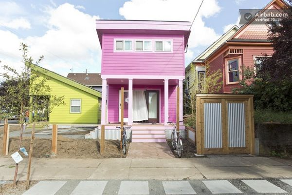 200 Sq Ft Pink Tiny Home In Portland Or Pink Houses Tiny Houses For Sale