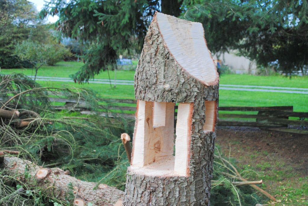 Gnome Tree Stump Home: We Plan To Add Some Type Of Roof