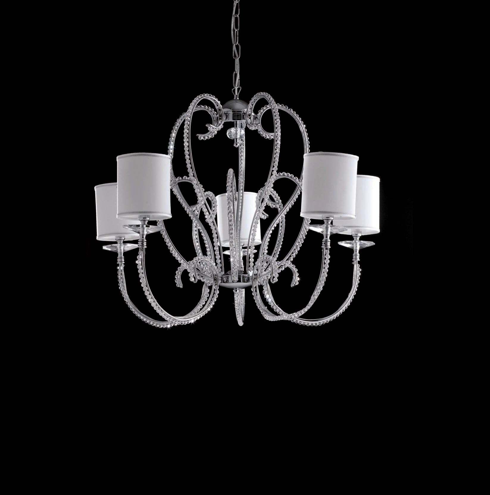 Lampadari Moderni Eleganti.Lampadario Moderno Cromato Con Perle In Cristallo 5 Luci Lgt