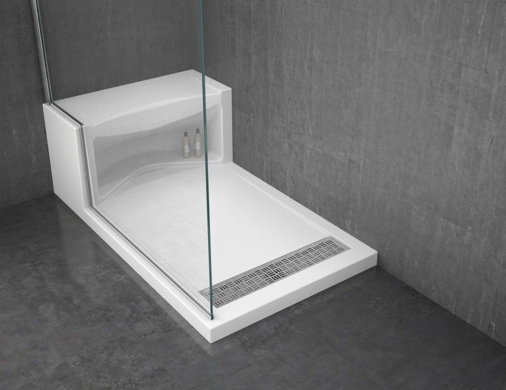 Solid Surface Shower Base With Seat With Images Shower Base