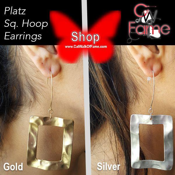 Shop Cat Walk Of Fame Buy Platz Matte Gold & Silver Square Hoop Earrings