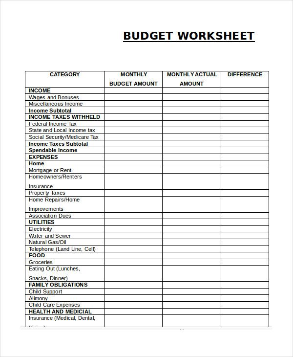 Monthly Budget Worksheet  Simple Monthly Budget Template  Simple