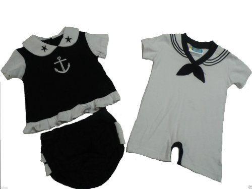 4855537d1 Twin-Baby-Boys-Girl-Set-Cute-2pc-Black-Sailor-Dress-Outfit-Nautical-0-1