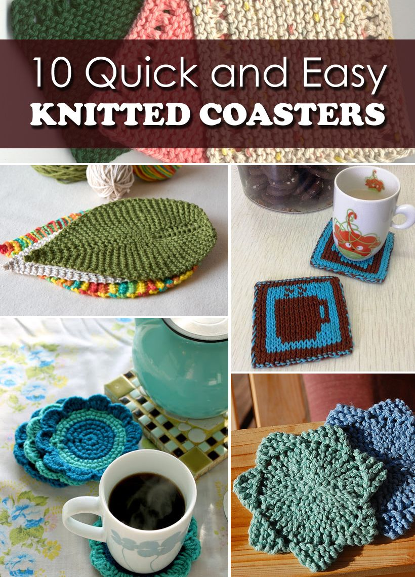 10 Quick And Easy Knitted Coasters Crafts Pinterest Knitting