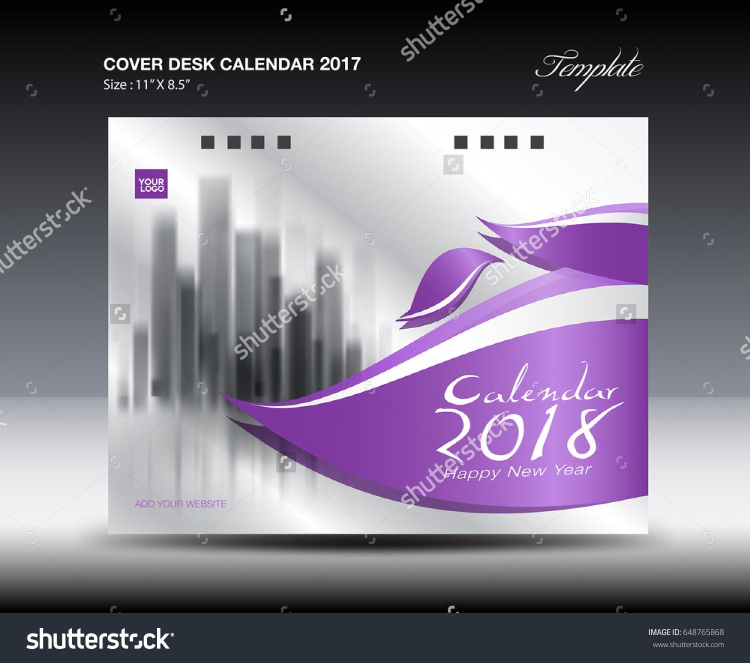 Purple Cover Desk Calendar  Design Flyer Template