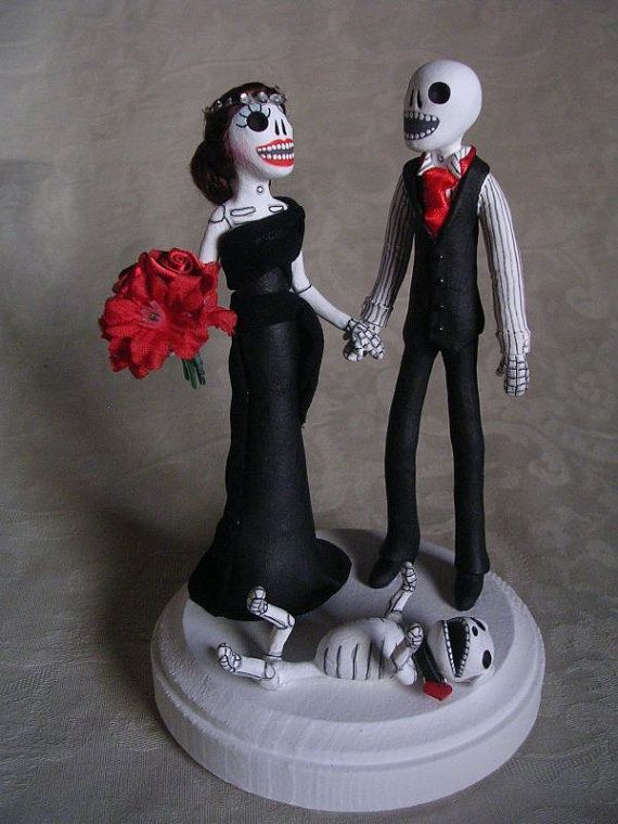 Custom Day of the Dead Wedding Cake Topper Skeleton by ClayLindo ...