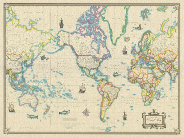 X World Wall Map Modern Day As Antique Art Poster New - 36 x 48 world map