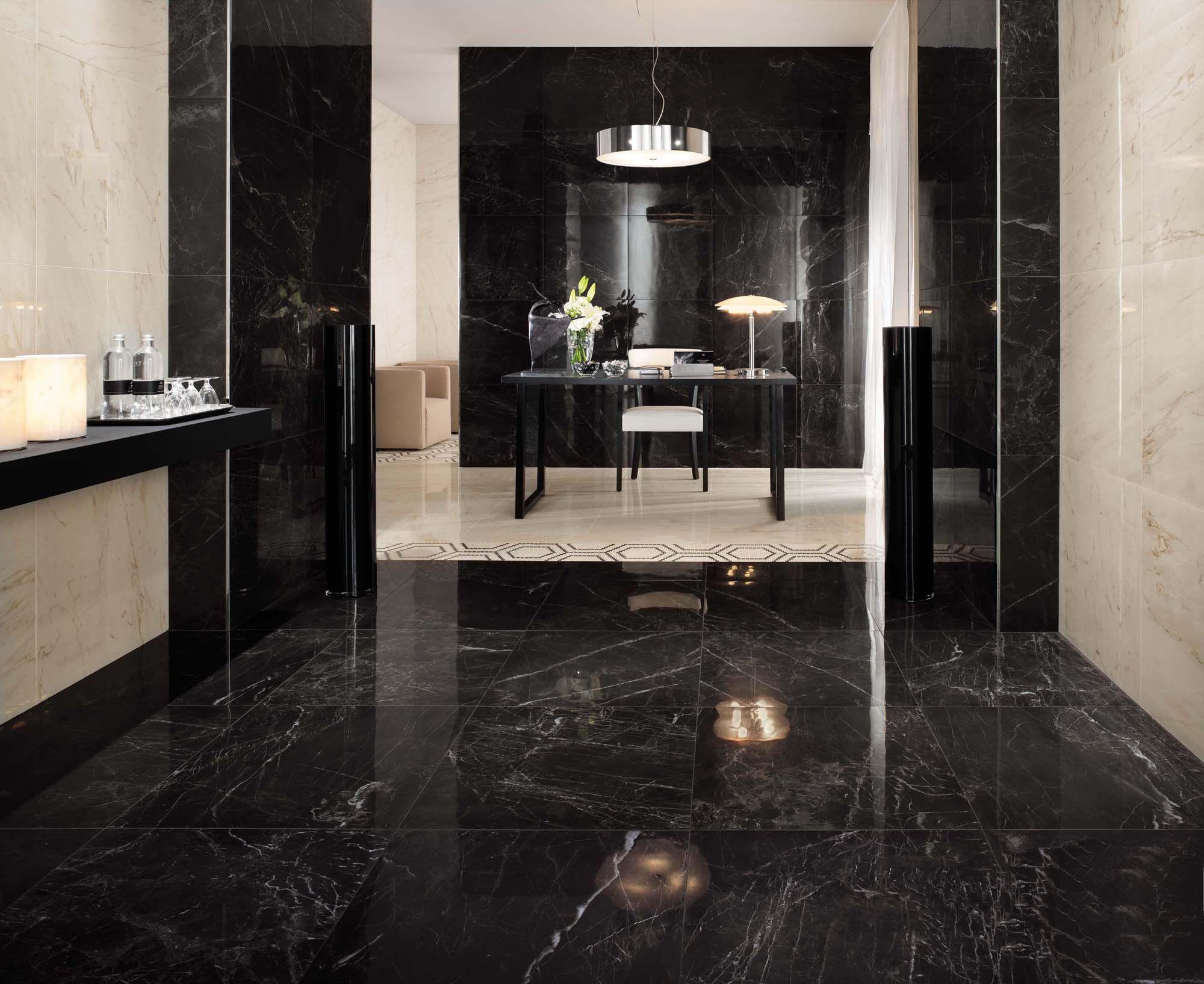Minoli floor tiles marvel noir st laurent 60 x 60 for Carrelage 80x80 blanc