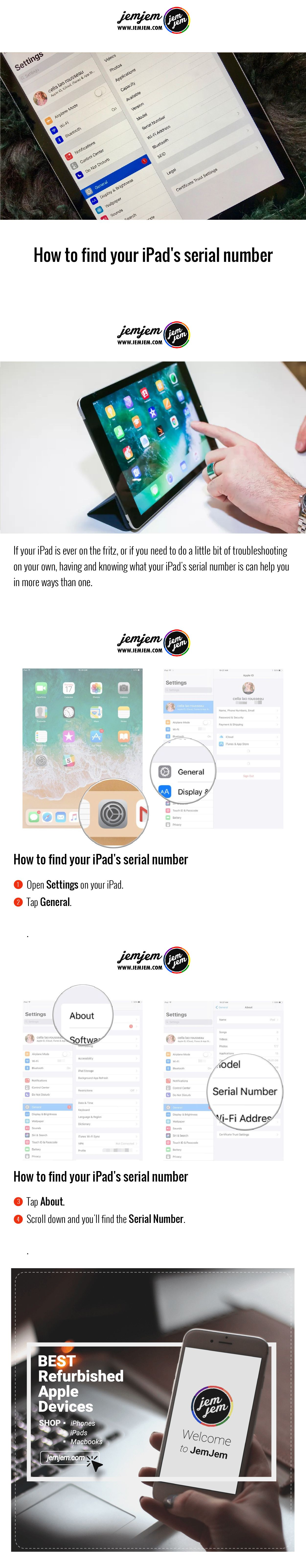 How to find your iPad's serial number Finding yourself