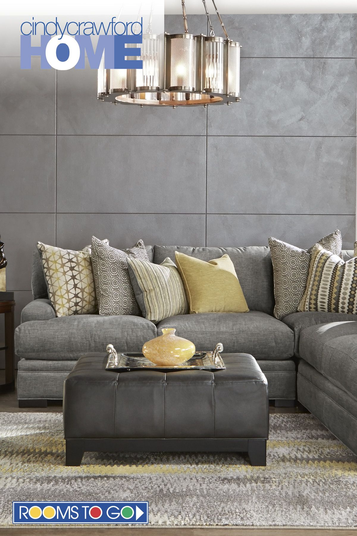 Best Cindy Crawford Home Palm Springs Gray 3 Pc Sectional 400 x 300
