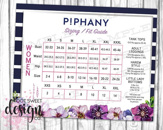 Piphany Sizing Fit Guide Size Chart Poster