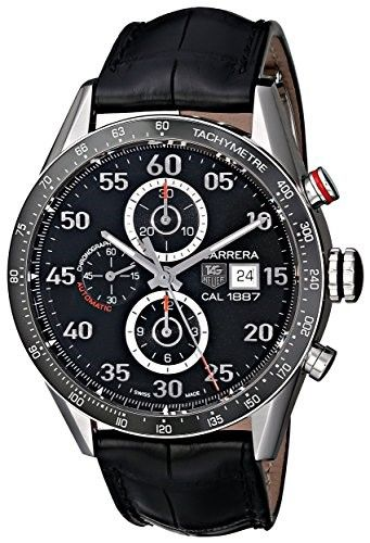 cf6beda4084 TAG Heuer Men s CAR2A10.FC6235 Carrera Stainless Steel Automatic Watch with  Black Leather Band
