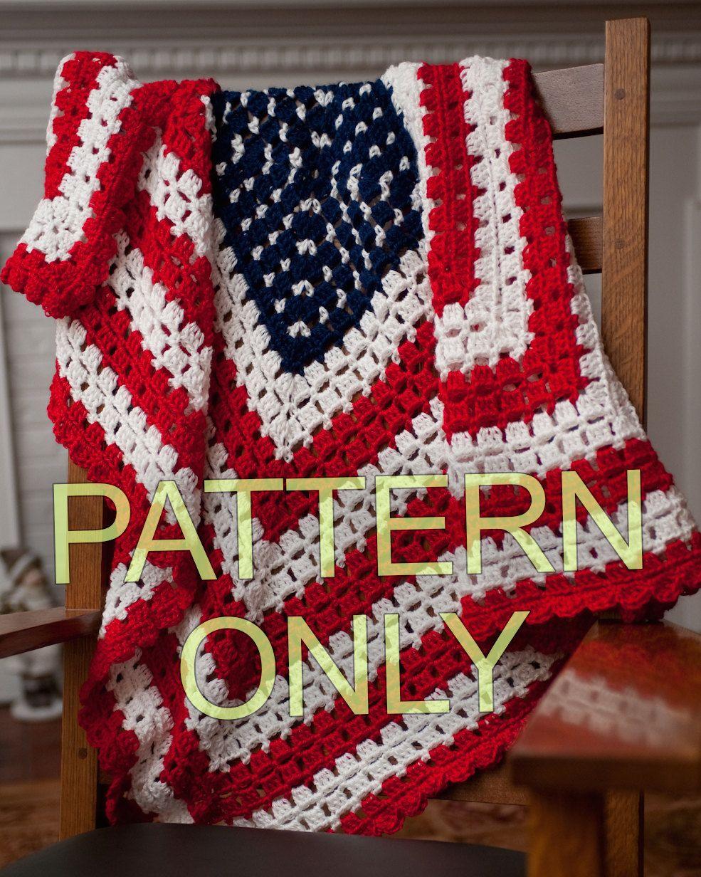 PATRÓN para bandera patriótica americana manta o tiro del ganchillo ...