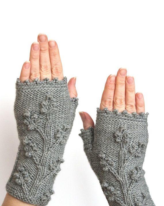 Guantes sin dedos tejidos a mano multicolores, marfil y gris beige beige, ropa y accesorios, guantes y mitones, mitones de punto