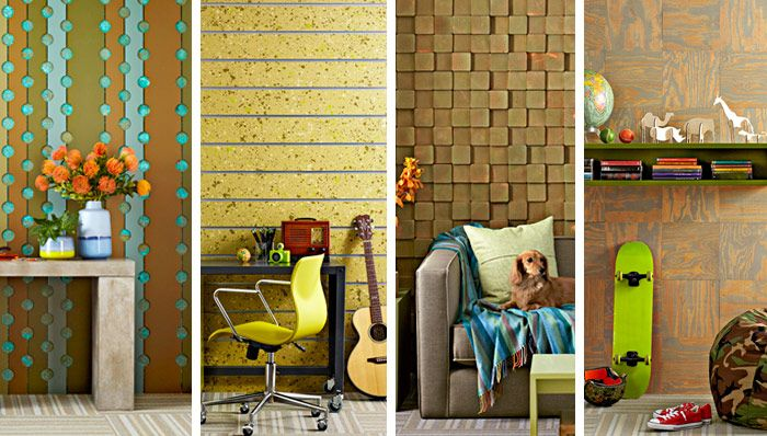 Accent wall ideas- copper flashing (1), 4x4\'s cut, stained, mounted ...