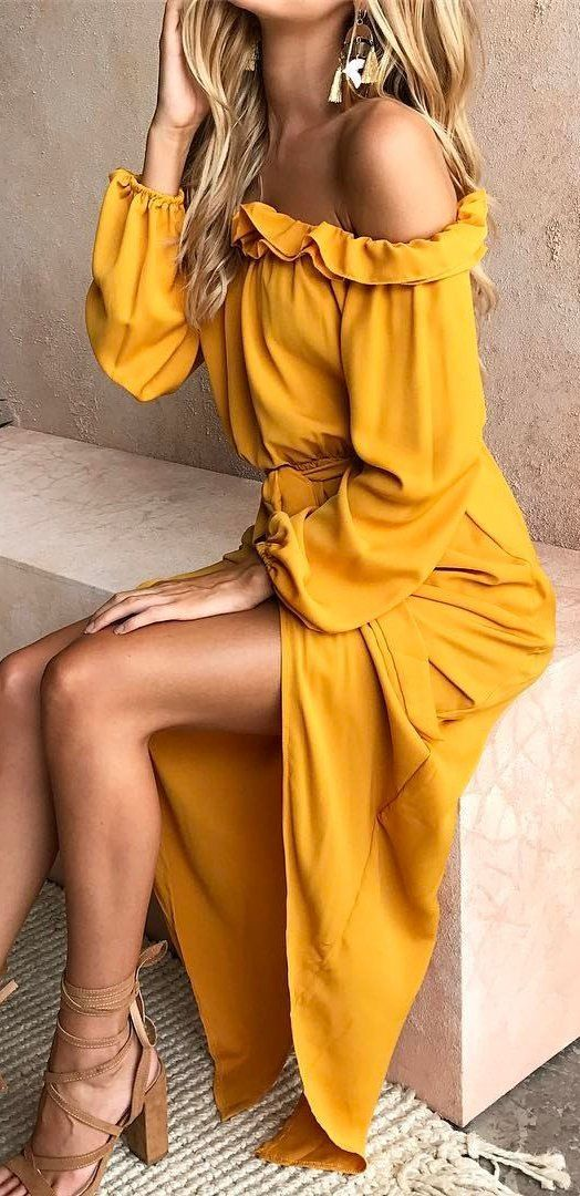 #summer #outfits  Yellow Ruffle Off The Shoulder Maxi Dress✨