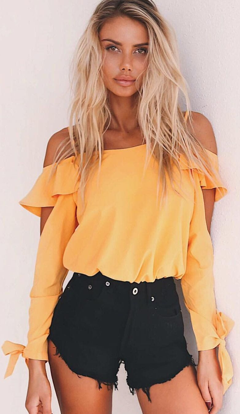 268708abdc6  summer  outfits Yellow Off The Shoulder Top + Black Denim Short