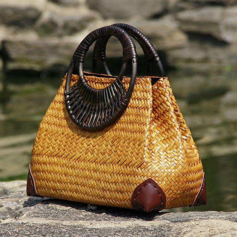 39b0559106bc9 Barato Versão tailandesa da palha saco saco de mão das mulheres da moda  retro vaso videira