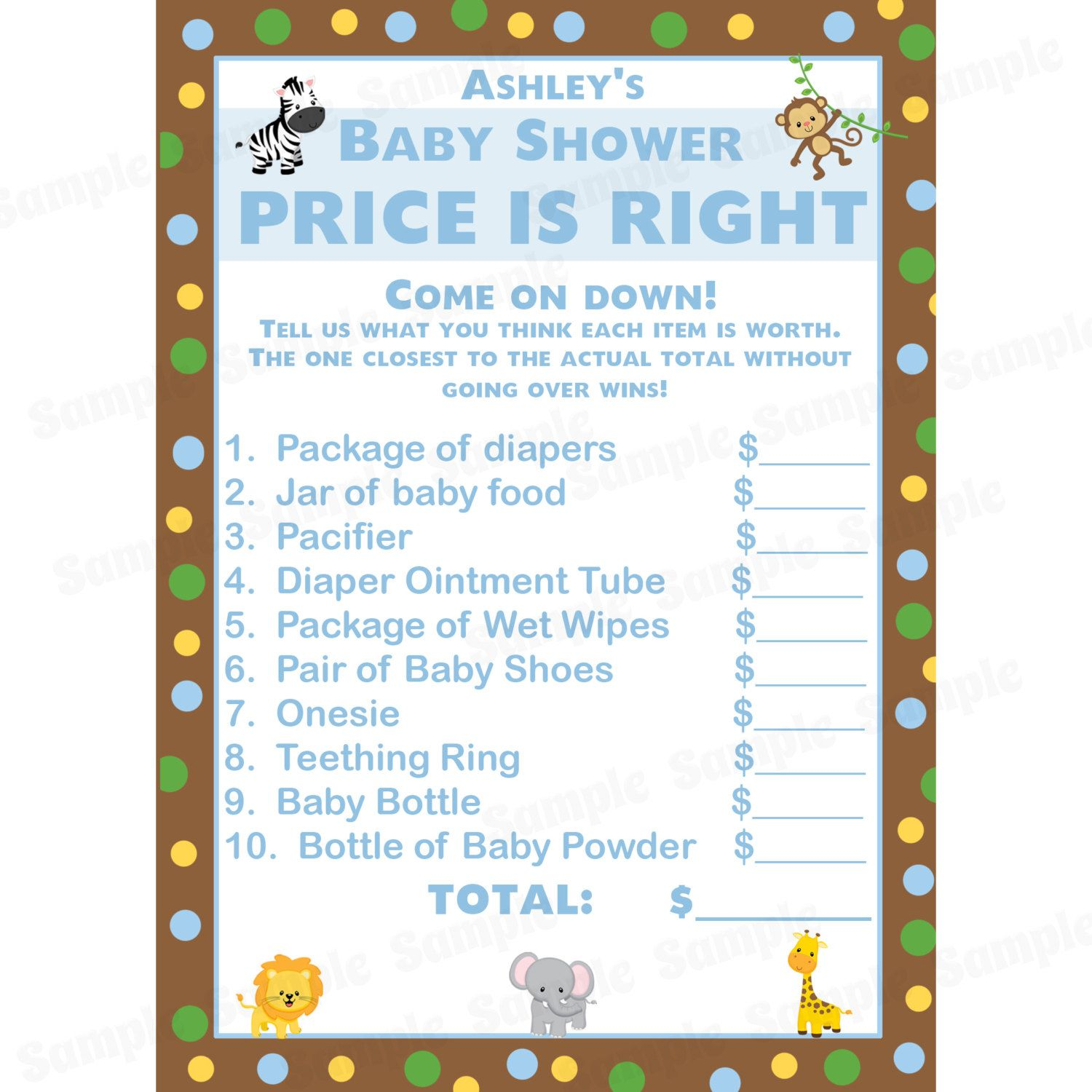 24 Personalized Baby Shower Price Is Right Game Cards   Zoo Animals