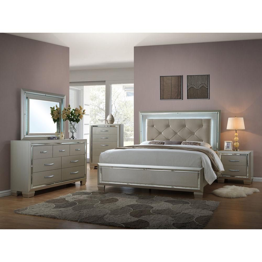 Cambridge Elegance Gold Queen Bed Frame With Led Mood Lighting