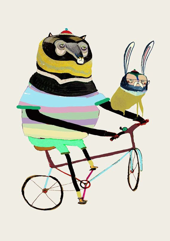 Bear and Hare on Bike. Limited edition art print by AshleyPercival, $40.00
