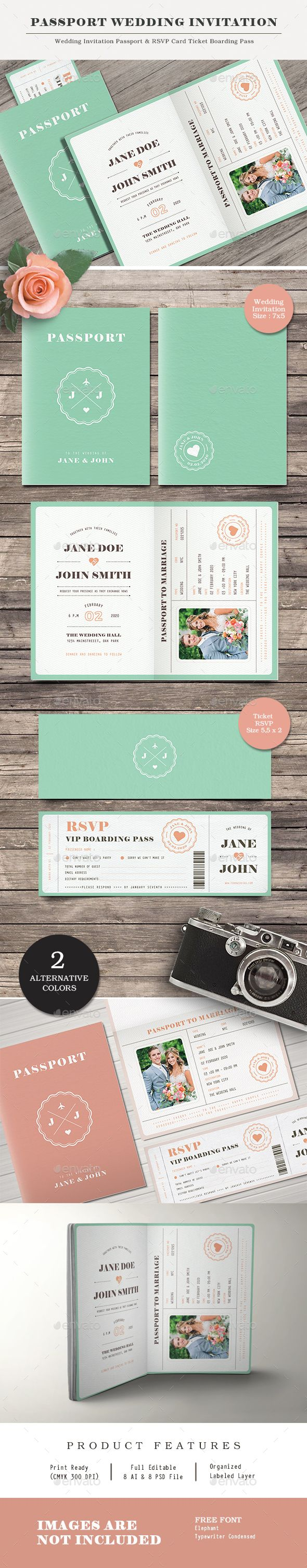 free wedding invitation psd%0A Passport Wedding Invitation