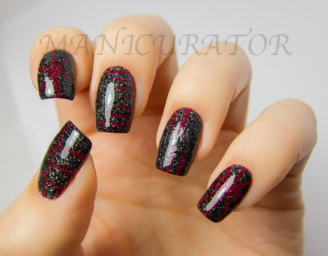 Red And Black Glittered Taping Nail Art Pinterest Tape Nails