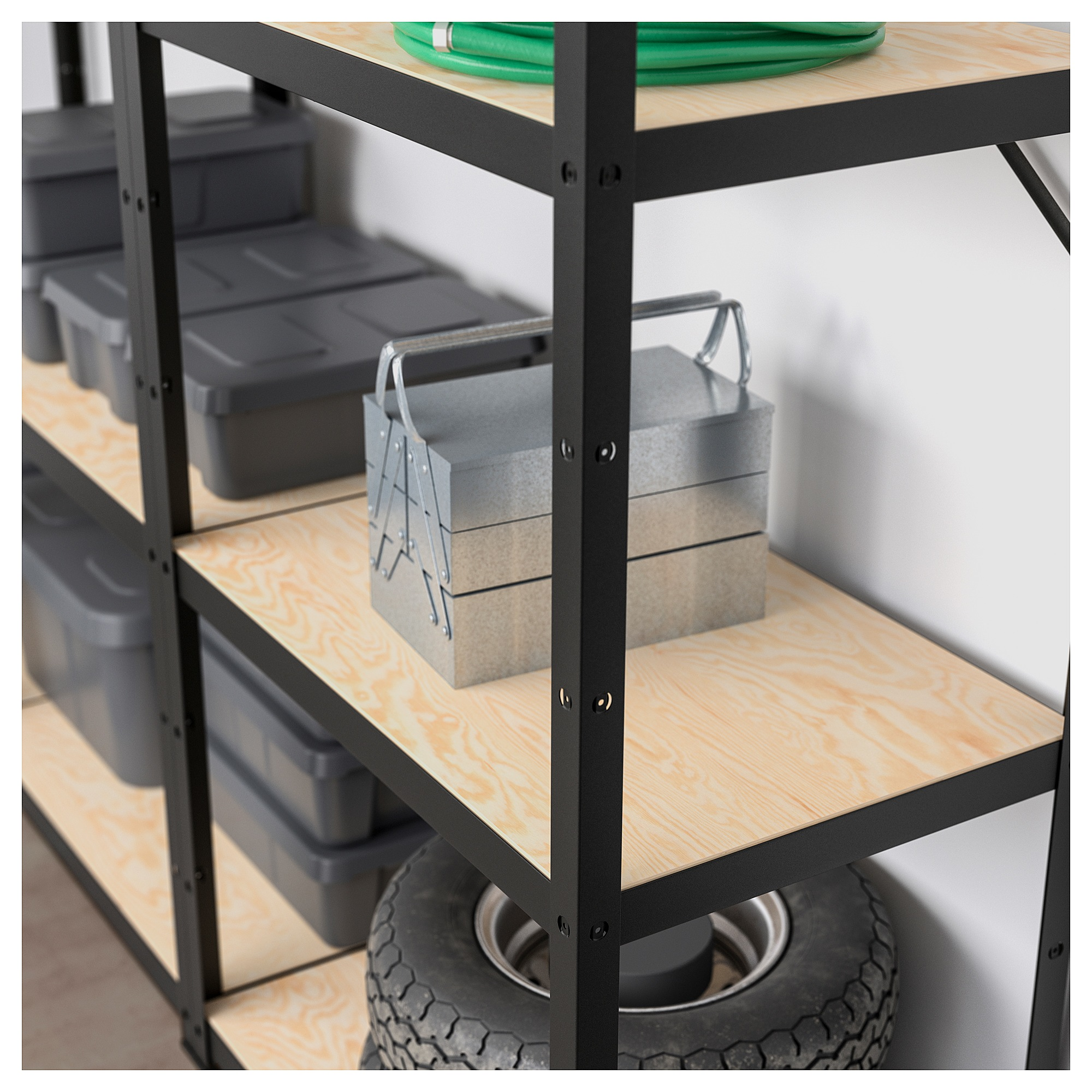 BROR Shelving Unit - Black, Wood