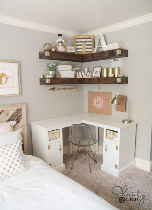 Diy Corner Desk Small Bedroom Bedroom Design Bedroom Makeover