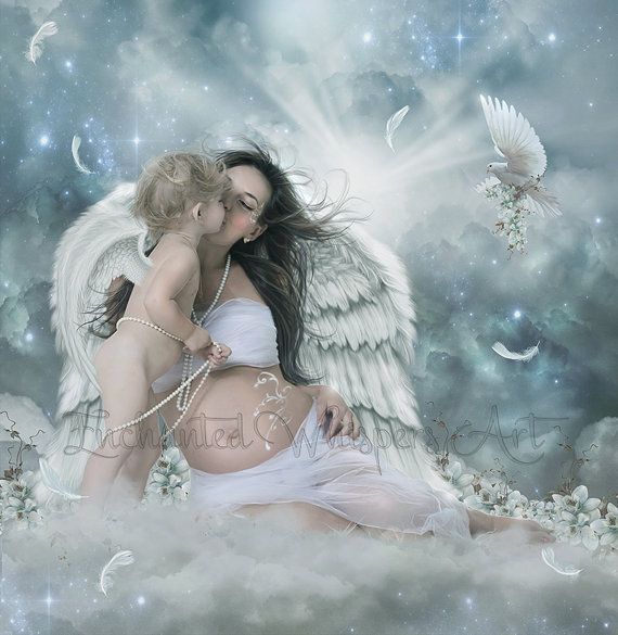 Mother and child artwork baby angel art pregnant