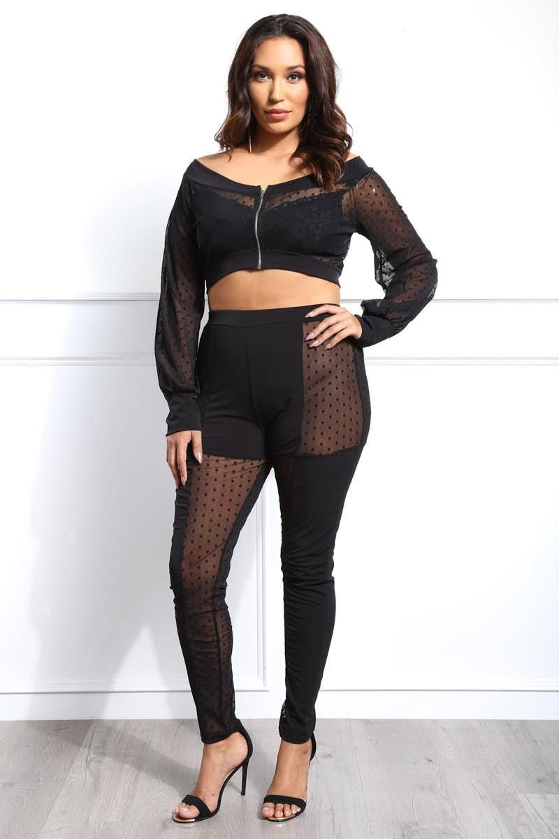 25964e2d2b7 Double trouble! This plus size pants and crop top set features a dot ...