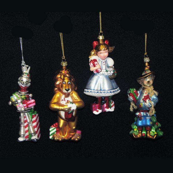 KSA Set of 4 Noble Gems Blown Glass Wizard of Oz Christmas Ornaments 5.25 - KSA Set Of 4 Noble Gems Blown Glass Wizard Of Oz Christmas Ornaments