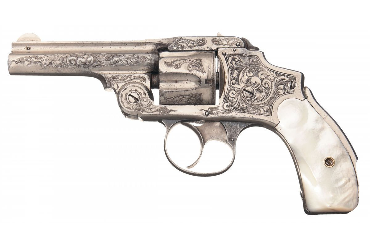 Engraved Smith & Wesson .38 Safety Hammerless Double Action Revolver with Pearl Grips and Holster