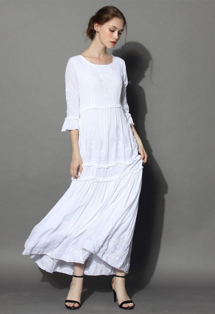 a077ee78fe2 Enjoy the autumn breeze in this stunning maxi dress! Finished with ...