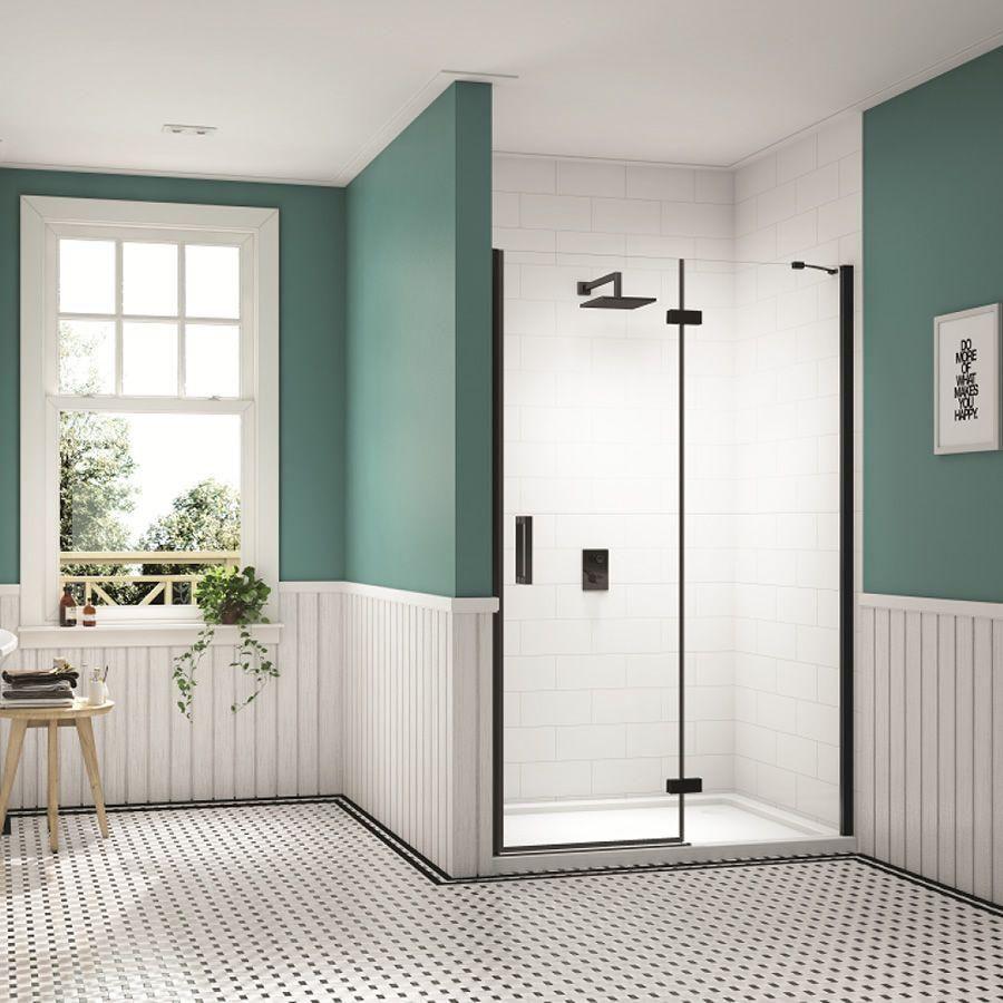 Merlyn Black Hinge Door Inline Panel For Recess Wet Room Shower Screens Shower Recess Wet Room Shower