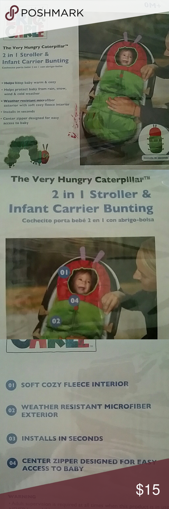 2 in 1 stroller and infant carrier bunting New, still in