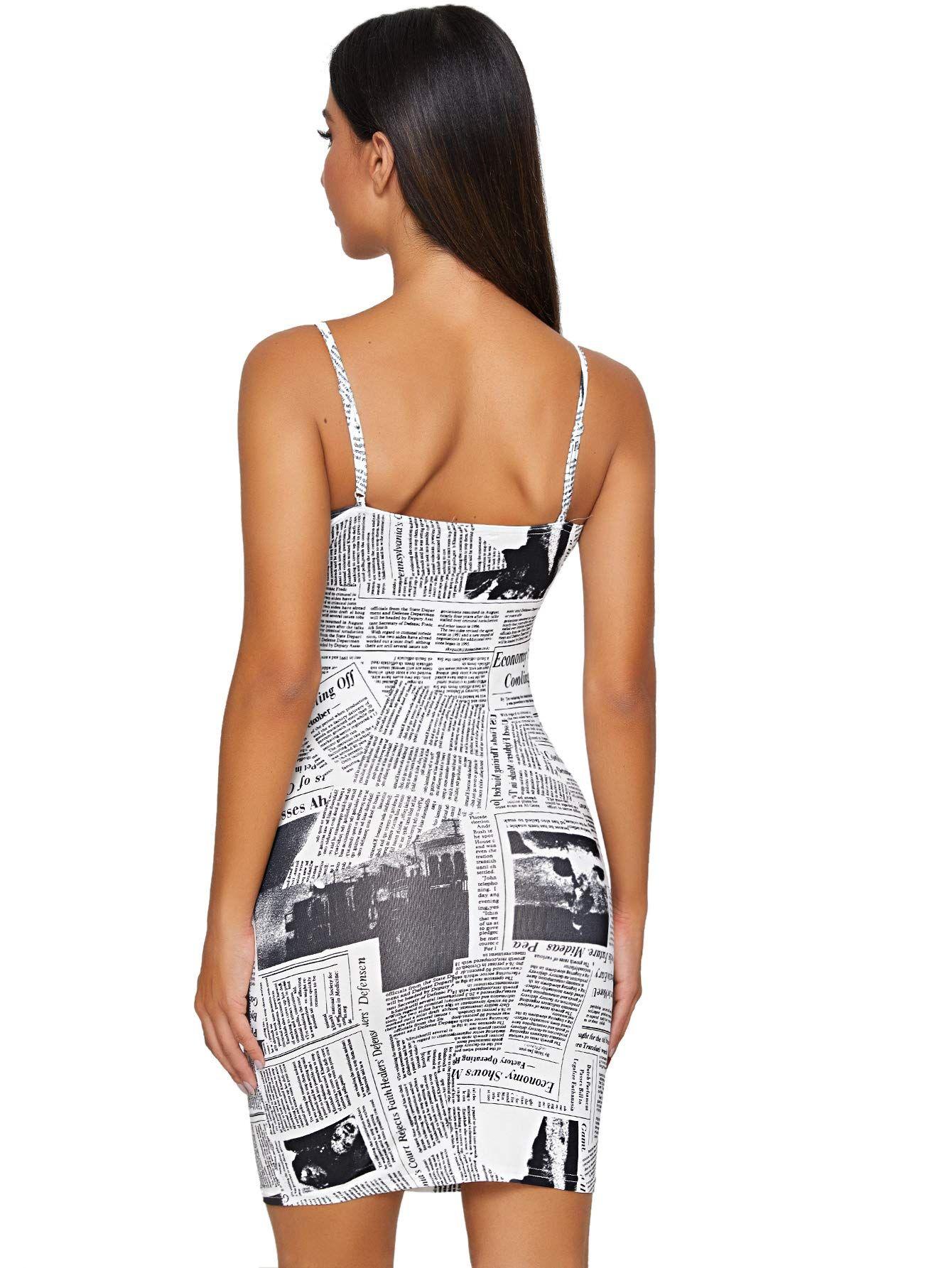 Soly Hux Spaghetti Newspaper Stretchy Stretchy Bodycon Dress Black Bodycon Dress Bodycon Dress [ 1785 x 1340 Pixel ]