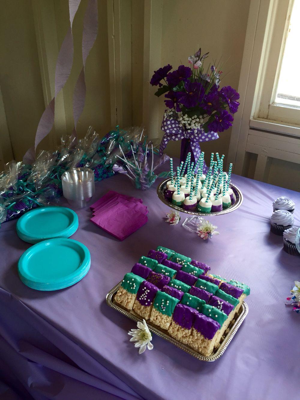 Purple& teal baby shower
