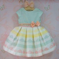 Vestido De Festa Infantil Nuvens Strass Petit Cherie
