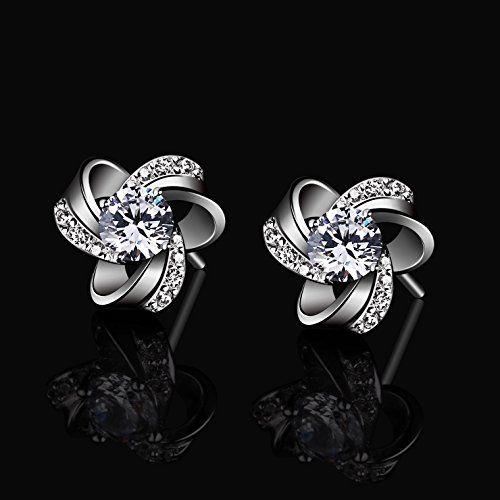 B.Catcher Women Jewellery Eternal Love Earrings Studs 925 Sterling Silver Cubic Zirconia Knot Stud Earing Set 0kcWa4Us6