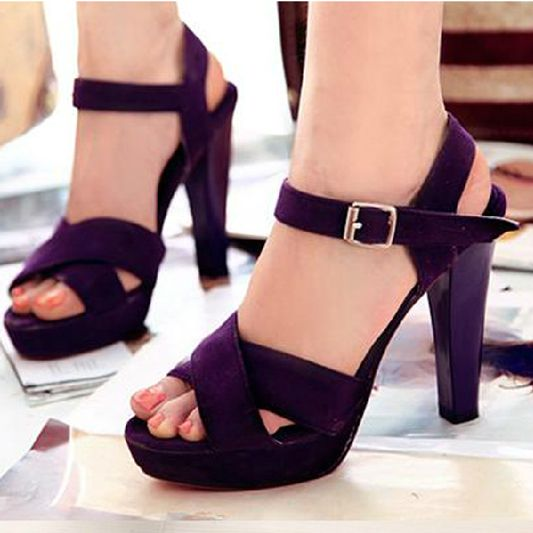 Ultra thick heel high heels sandals plus size 40 43 44 45 navy .