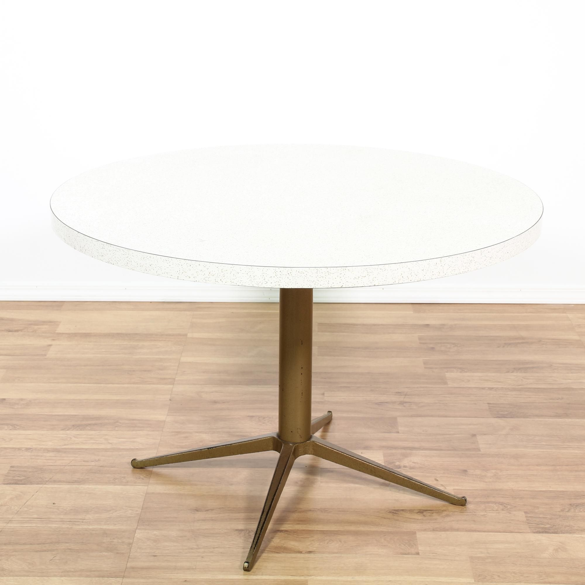 This Mid Century Modern Dining Table Is Featured In A Wood With A White  Laminate Finish. This Retro Dinette Table Has A Round Table Top And A Metal  Pedestal ...