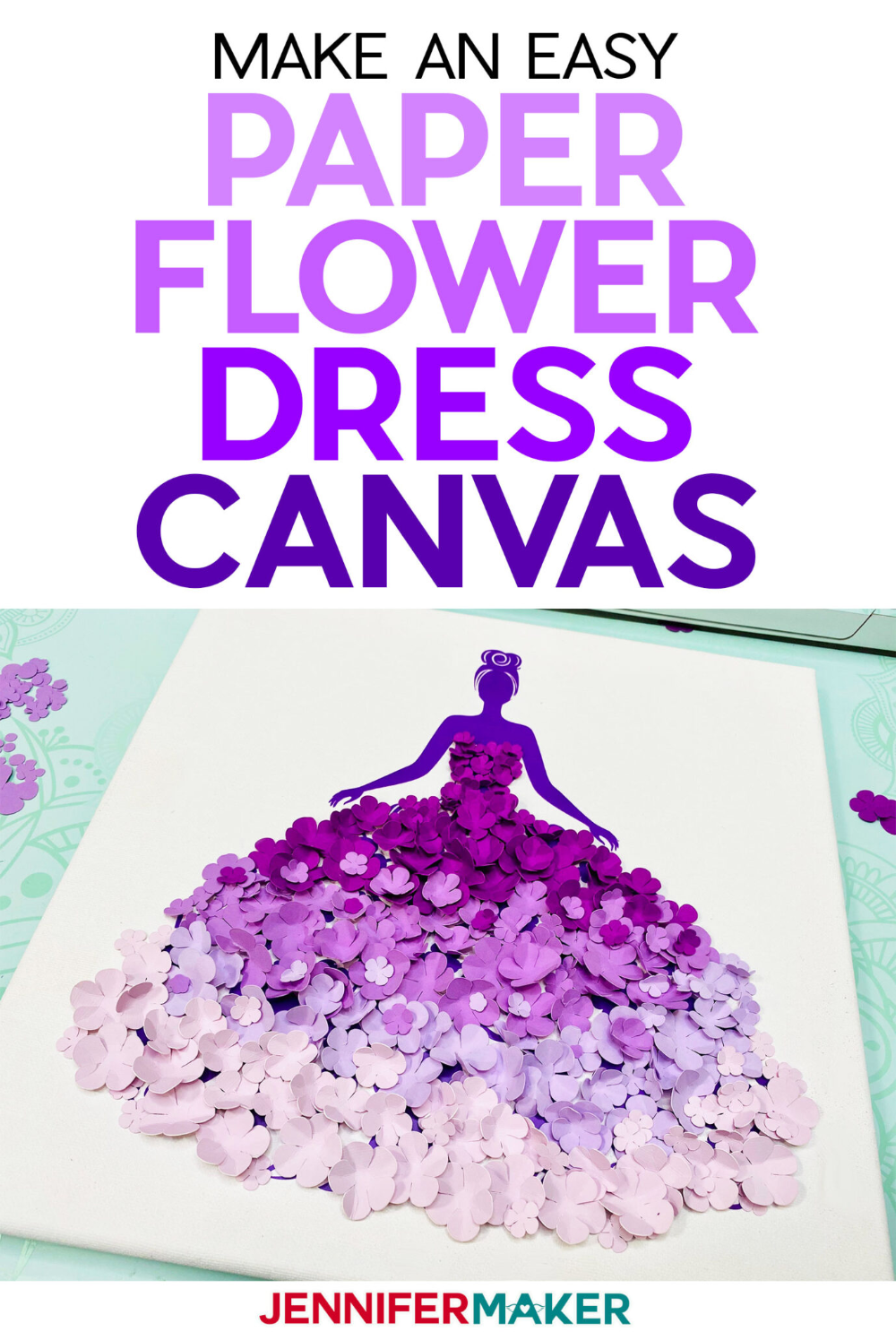 Paper Flower Dress Canvas Wall Art - Jennifer Maker