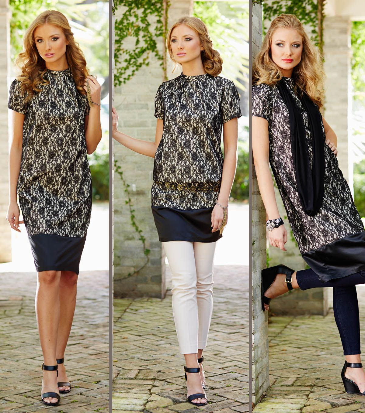 Black dresses for wedding guest  Cream and Black Lace Dress with Accessories at Joann