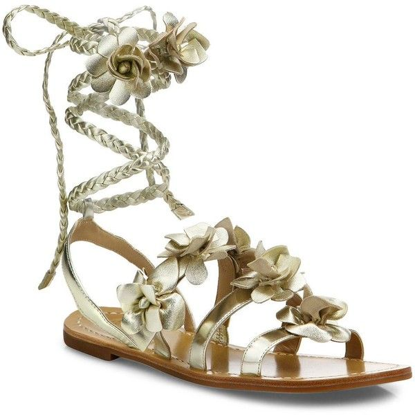 Tory Burch Blossom Metallic Leather Gladiator Sandals ($295) ❤ liked on Polyvore featuring shoes, sandals, apparel & accessories, ankle strap sandals, ankle wrap sandals, greek sandals, metallic gladiator sandals and braided leather sandals