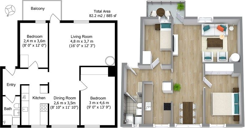 Real Estate Floor Plans Roomsketcher 20 Designs Ideas For 3d Apartment Or One Storey Three Sweet Home 3d Draw Floor Floor Plan Design Floor Plans House Plans