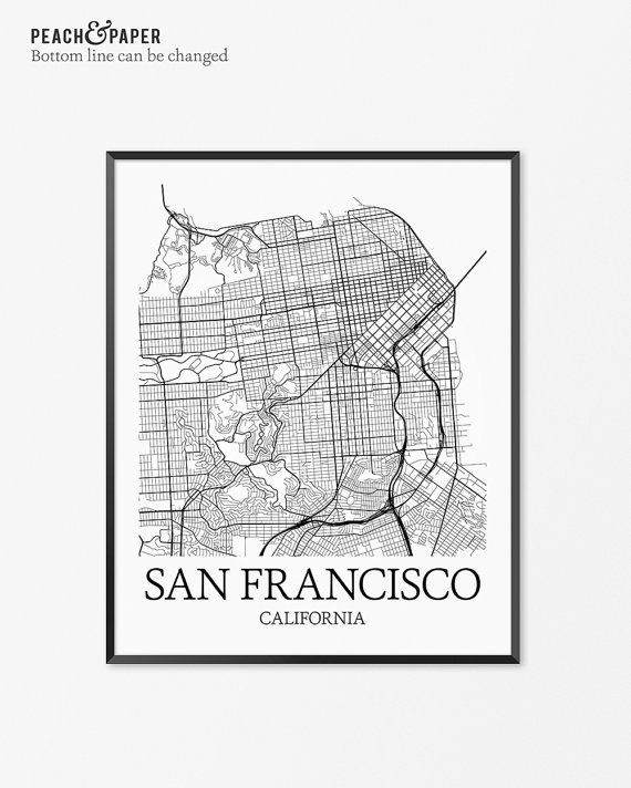 San Francisco Map Print - Customize the bottom line text (see ...