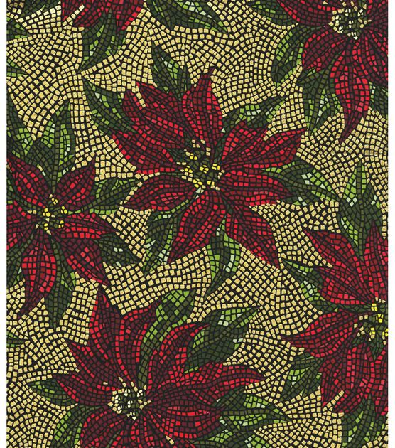 Christmas Cotton Fabric Stained Glass Poinsettia