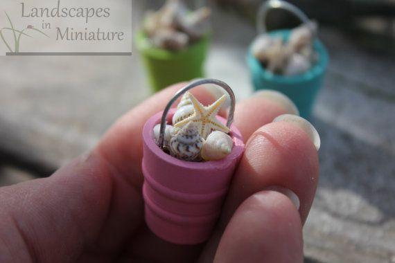 Miniature METAL BEACH BUCKET of Seashells by LandscapesNMiniature